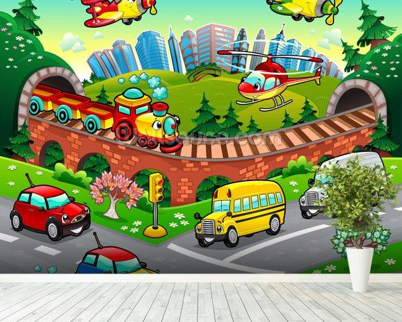 Cartoon road wallpaper wall mural wallsauce for Cartoon mural wallpaper