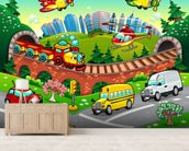 Cartoon Road wall mural living room preview