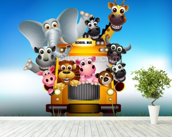 Cartoon Animal Bus mural wallpaper room setting