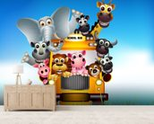 Cartoon Animal Bus mural wallpaper living room preview