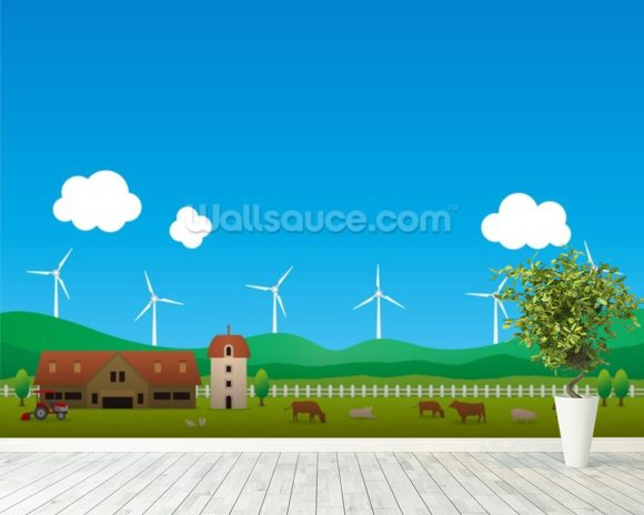 Cartoon Wind Farm wallpaper mural room setting