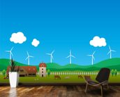 Cartoon Wind Farm wallpaper mural kitchen preview