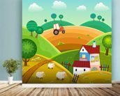 Farm and Tractor wall mural in-room view