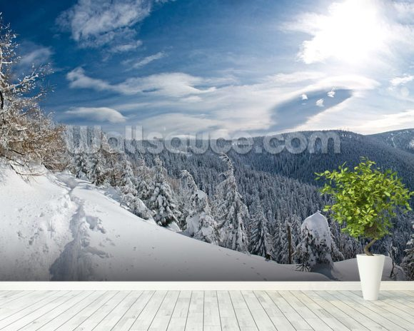 Snowy Slopes wallpaper mural room setting