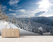Snowy Slopes wallpaper mural living room preview