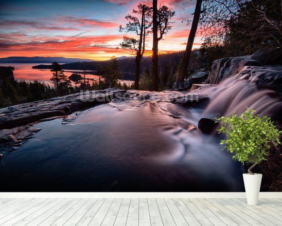 Lake Tahoe Sunrise wall mural room setting