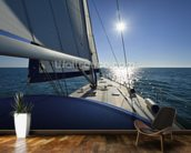 Italy, Sicily, Mediterranean sea, cruising on a sailing boat wall mural kitchen preview