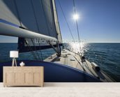 Italy, Sicily, Mediterranean sea, cruising on a sailing boat wall mural living room preview