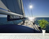 Italy, Sicily, Mediterranean sea, cruising on a sailing boat wall mural in-room view