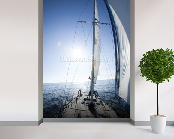 Yachting wallpaper mural room setting