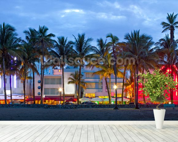 Miami Beach Palms Sunset mural wallpaper room setting