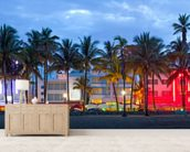 Miami Beach Palms Sunset mural wallpaper living room preview