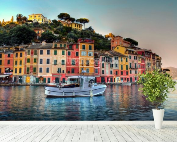 Portofino Sunset, Italy wall mural room setting