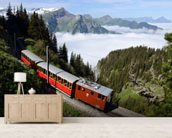Old Train Mountain Pass wall mural living room preview