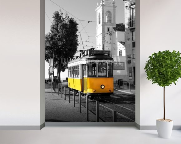 Yellow Tram in Lisbon wallpaper mural room setting