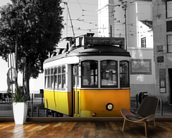 Yellow Tram in Lisbon wallpaper mural kitchen preview