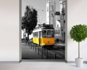 Yellow Tram in Lisbon wallpaper mural in-room view
