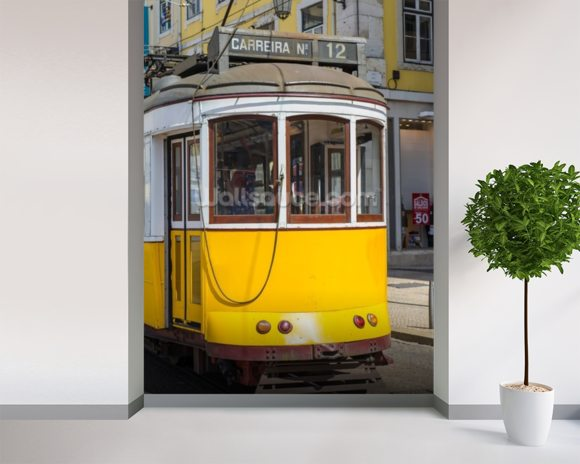 Tram in Lisbon, Portugal mural wallpaper room setting