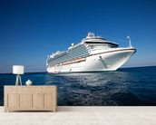 Cruise Ship in Caribbean Sea wallpaper mural living room preview