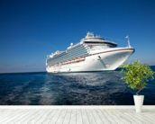 Cruise Ship in Caribbean Sea wallpaper mural in-room view