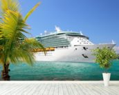 Luxury Cruise Ship Sailing from Port mural wallpaper in-room view