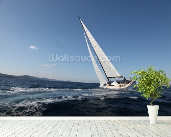 Sailing on the Adriatic Sea mural wallpaper room setting