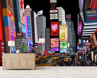 Abstract NY Times Square mural wallpaper