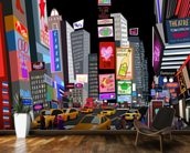 Abstract NY Times Square mural wallpaper kitchen preview