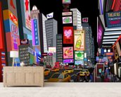 Abstract NY Times Square mural wallpaper living room preview