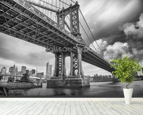 New York Bridge mural wallpaper room setting