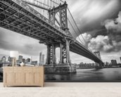 New York Bridge mural wallpaper living room preview
