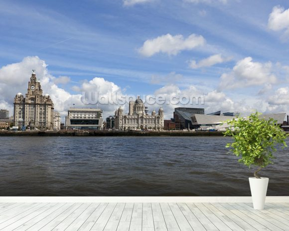 Liverpool River Mersey wallpaper mural room setting