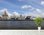 Liverpool River Mersey wallpaper mural in-room view