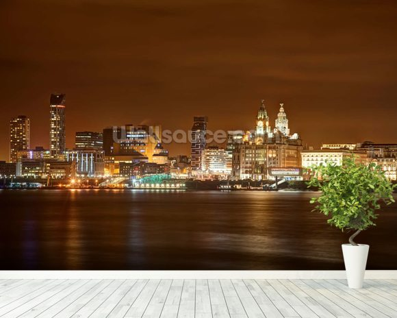 Liverpool at Night wall mural room setting