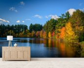 Autumn Lakeside wallpaper mural living room preview