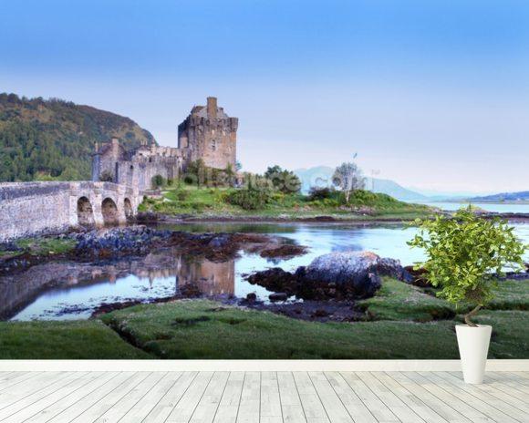 Eilan donan castle sunset wallpaper wall mural wallsauce usa for Castle mural wallpaper