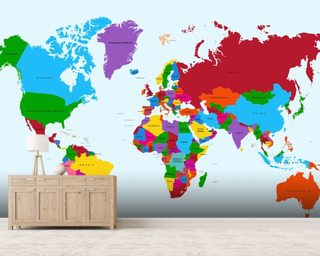 Colour Map of the World mural wallpaper