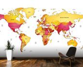 World Map in Reds & Yellows wall mural kitchen preview