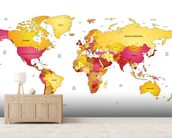 World Map in Reds & Yellows wall mural living room preview