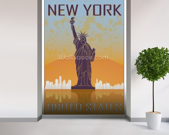 vintage new york wallpaper wall mural wallsauce usa. Black Bedroom Furniture Sets. Home Design Ideas