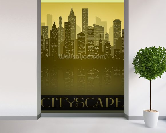 Vintage Skyline wallpaper mural room setting