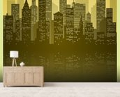 Vintage Skyline wallpaper mural living room preview