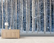 Snowy Birch Forest wallpaper mural living room preview