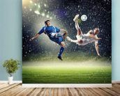Two football players striking the ball wallpaper mural in-room view