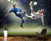 Two football players striking the ball wallpaper mural kitchen preview