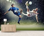 Two football players striking the ball wallpaper mural living room preview