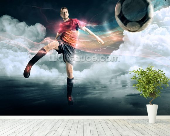 Soccer mural wallpaper room setting