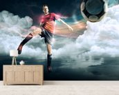 Soccer mural wallpaper living room preview