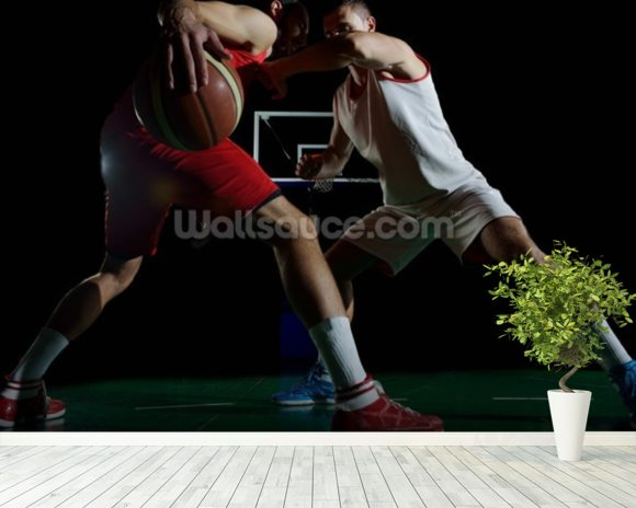 Basketball player in action mural wallpaper room setting