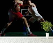 Basketball player in action mural wallpaper in-room view